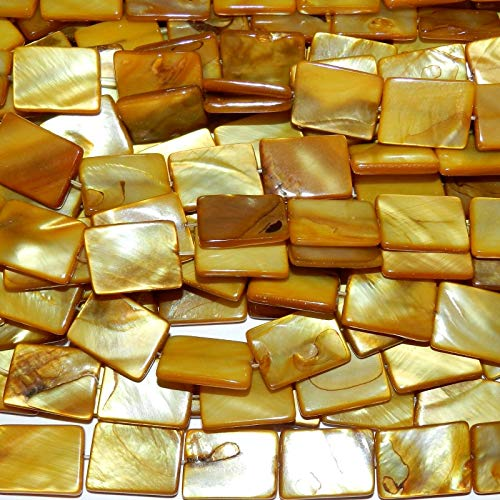 Golden Yellow 20mm Flat Rectangle Mother of Pearl Shell Beads 15#ID-6701 (Shell Pearl Golden)