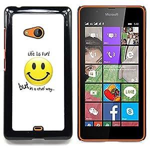 Jordan Colourful Shop - Funny Life Is Fun For Microsoft Nokia Lumia 540 N540 - < Personalizado negro cubierta de la caja de pl??stico > -