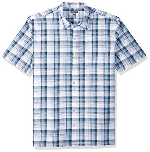 Van Heusen Men's Big and Tall Air Short Sleeve Button Down Plaid Shirt, blue colony, 3X-Large Big (Van Heusen Dress Shirt Xxxl)