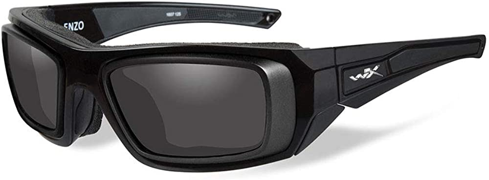 Wiley X Sunglasses Enzo in Gloss Black w//Rx Rim Frame /& Smoke Grey Lens