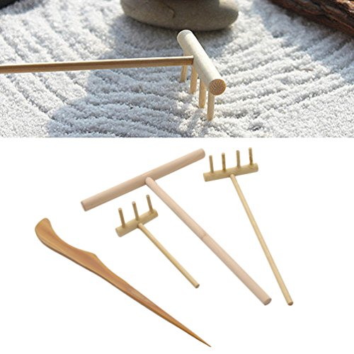 Qlychee Novelty Zen Garden Rake Decor Accessories Mini Zen Garden Art Kit Sand Push Pen