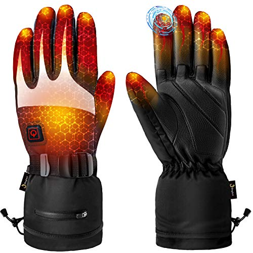 Heated Gloves for Men Women - Electric Heating Gloves, Heated Motorcycle Gloves Battery Rechargeable for Winter Sports (XL)