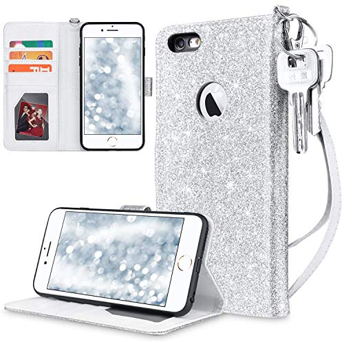 UARMOR Wallet Case for Apple iPhone 6 Plus / iPhone 6S Plus 5.5 inch, Bling Glitter Shiny PU Leather Magnetic Credit Card Slot Cash Holder Shockproof Folio Flip Case Cover, Silver
