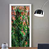 Niasjnfu Chen custom made 3d door stickers the Green Creeper Plant on Fabric Home Decor For Room Decor 30x79