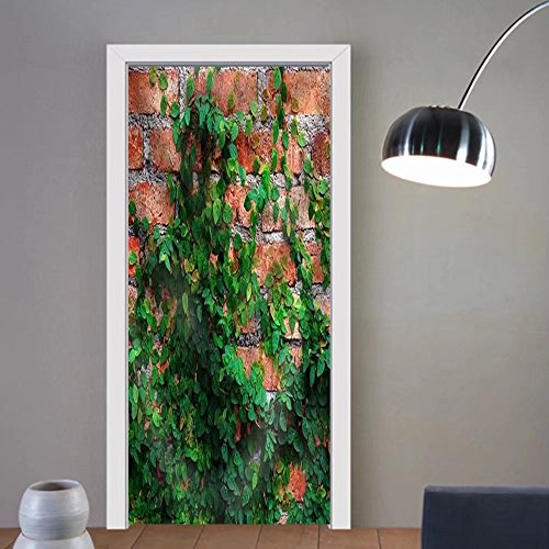 Niasjnfu Chen custom made 3d door stickers the Green Creeper Plant on Fabric Home Decor For Room Decor 30x79 by Niasjnfu Chen