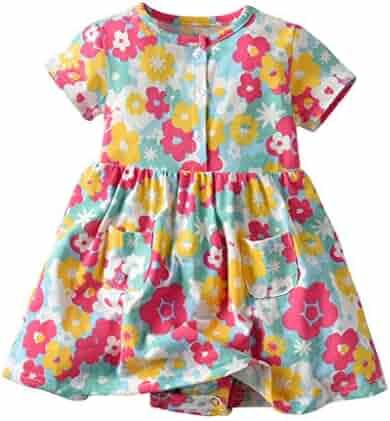 59e74997 Hatoys Toddler Kid Baby Girl Short Sleeve Floral Dress Princess Romper Dresses  Clothes