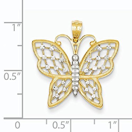 14 carats et Rhodium taille diamant pendentif Papillon-Dimensions :  23,4 x 229 mm-JewelryWeb