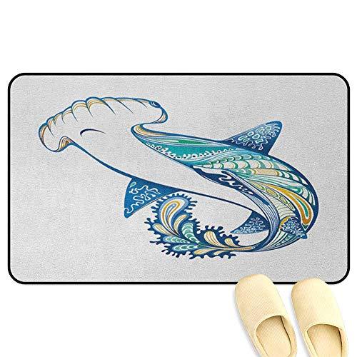 homecoco Abstract Floor Comfort Mat Hammer Head Shark Ornate Underwater Sea Ocean Life Animals Marine Blue Aqua White Indoor/Outdoor/Front Door/Bathroom Mats Rubber Non Slip W39 x L63 INCH