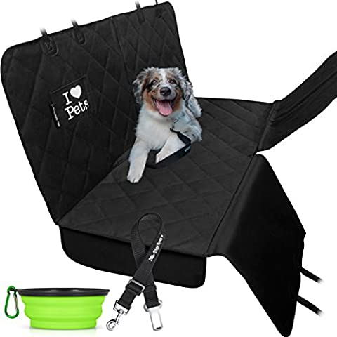 Dog Car Covers for Backseat by Starling's Hammock Style|Latest Model, Heavy Duty, Waterproof, Non-Slip & Vents for All 3 Seat Belts|Fits All Vehicles, SUV! W/ Dog Bowl & Pet (3 Step Padded Dog Stairs)
