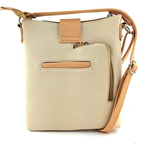 2015 New Style Rhinestone Buckle Concho Concealed Carry Embroidered Leather Shoulder Handbag Purse and Matching Messenger Bag, Wallet in Beige (CC Beige Messenger Bag)
