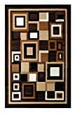 Cheap Modern Contemporary Area Rug Brown Beige Ivory Design G 26 (5 Feet X 7 Feet)