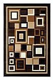 Modern Contemporary Area Rug Brown Beige Ivory Design G 26 (8 Feet X 10 Feet)