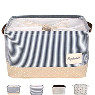 DOKEHOM DKA0611BBM 17  Large Storage Basket (Available 15  and 17 ) Drawstring Square Cotton Linen Collapsible Toy Basket (Navy Blue, L)