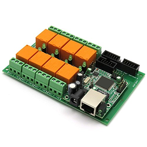 Ethernet Relay Controller Module, Web Server IP + Temperature Sensor LM35DZ, SNMP, Web, Android, (I/o Interface Assembly)