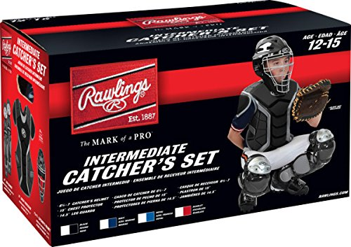 Coolflo Hockey Style Catchers Helmet (Rawlings Sporting Goods Renegade Series Catcher Set (Ages 12-15), Scarlet/Silver)