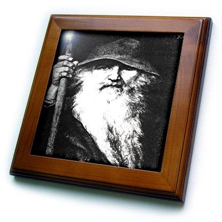 3dRose ft_78778_1 Odin- Odin, God, Norse God, Mythology, Black and White, Silhouette, Norway, Warrior, Barbarian-Framed Tile, 8 by 8-Inch