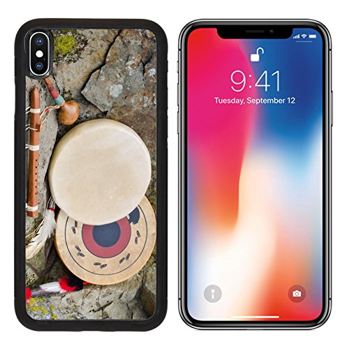 MSD Premium Apple iPhone X Aluminum Backplate Bumper Snap Case Native American Drums Flute and Shaker IMAGE 30415935