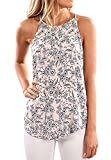 SVALIY Women High Neck Floral Sleeveless Casual Tops Tanks Camis T-shirt Blouse Pink M
