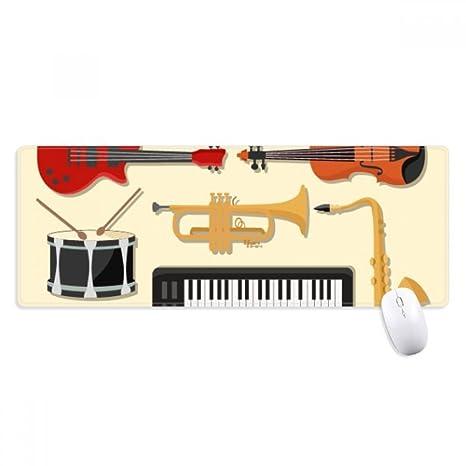 beatChong Piano Eléctrico Trombón Música De Guitarra Antideslizante Alfombrilla De Ratón Oficina Grande Juego Extendido Bordes