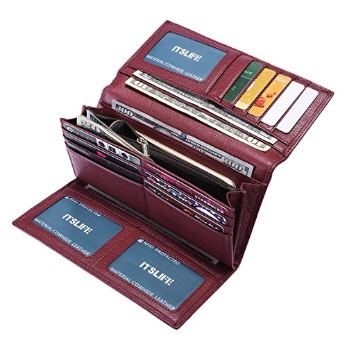 Itslife Women RFID Blocking Wallet Trifold Ladies Luxury Leather Clutch Travel Purse(Wine Red)