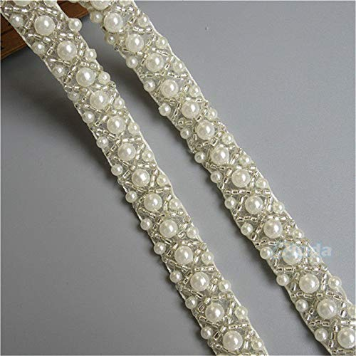 1 Meter Pearl Beaded Band Lace Edge Trim Ribbon Tape 1.5 cm Width Vintage Style Ivory Edging Trimmings Fabric Embroidered Applique Sewing Craft Wedding Bridal Dress Party Decor Clothes Embroidery