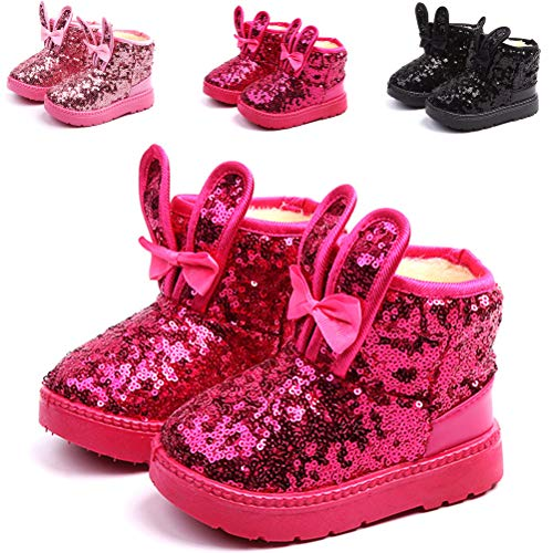 DADAWEN Boy's Girl's Warm Winter Sequin Waterpoof Outdoor Snow Boots Hot Pink US Size 7.5 M Toddler