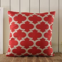 Huacel Throw Pillow Case, Cotton Canvas Quatrefoil Accent Decorative Throw Pillow Cover (Christmas Red, White, Square, 1 Cushion Sham for 18 x 18 Inserts)