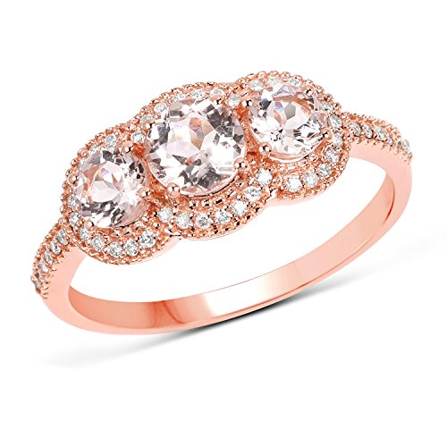 14K Rose Gold Morganite and White Diamond Ring (1.04 cttw, I-J Color, I2-I3 Clarity) from Johareez