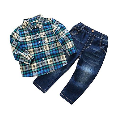 Kimocat Gentleman Woven Shirt Set Jeans Suit Boy Denim Pant Plaid Button-Down Long Sleeve Outfits (130/6Y) by Kimocat