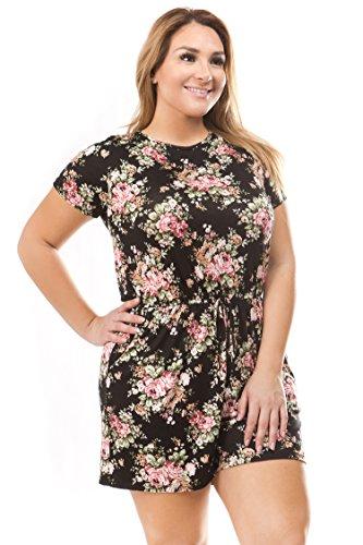 Bubble B Women's Plus Size Short Sleeve Floral Print Romper Black 3X