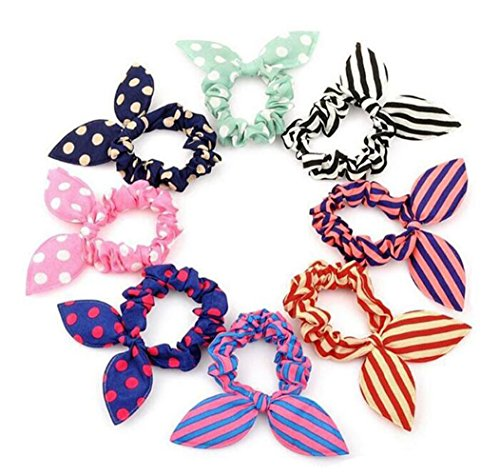 - 20Pcs Diameter 2.3inch Hair Tie - Bunny Rabbit Ear Rubber Band Ponytail Ring Holder Hair Rope Hair Scrunchie Styler Styling Accessories for Girls And Women(Color and Pattern Random)