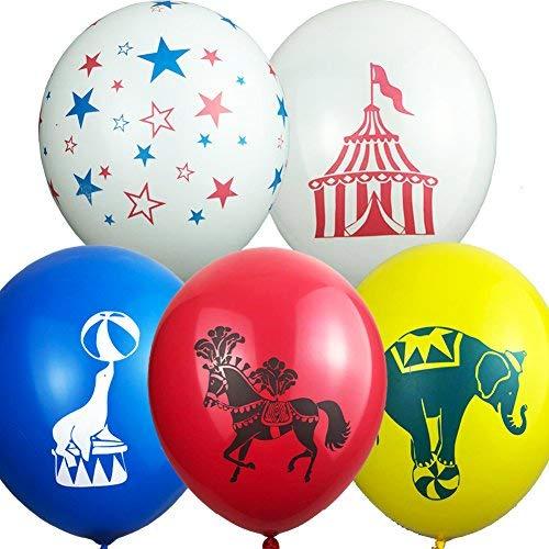 Juego de 50 globos de animales de circo carnaval para fiestas, decoración de león, caballo, elefante y tienda de campaña