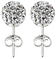 Shamballa silver stud earrings size 8MM bling bling!! CZ crystal ball