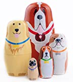 Echodo 5pcs Handmade Animal Nesting Dolls Authentic Russian Wooden Matryoshka Dolls Cute Cartoon Dog Pattern Nesting Doll Toy Children's Day Gift