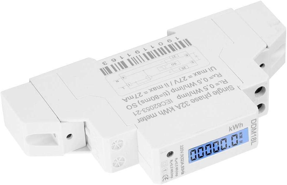 220V 50HZ Monophas/é Rail Din KWH Watt Heure Rail-Din Mini Compteur dEnergie Num/érique avec Module dAffichage LCD