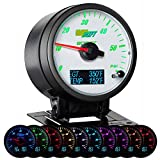 GlowShift 3in1 Analog 60 PSI Boost Gauge Kit with Digital 2200 F Pyrometer Exhaust Gas Temp EGT & 300 F Temperature Readings - 10 Selectable LED Colors - White Dial - Clear Lens - 2-3/8'' 60mm
