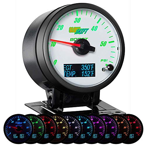 GlowShift 3in1 Analog 60 PSI Boost Gauge Kit with Digital 2200 F Pyrometer Exhaust Gas Temp EGT & 300 F Temperature Readings - 10 Selectable LED Colors - White Dial - Clear Lens - 2-3/8