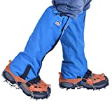 Ezyoutdoor Unisex Stainless Steel 8-Teeth Ice Gripper Cleat Shoes Boot Crampons with Leg Cover Ice Snow Grips Traction Cleats Anti Slip Cleats for Camping Outdoor Walking Hiking Climbing