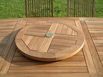 beautiful table de jardin ronde en bois avec plateau tournant pictures awesome interior home. Black Bedroom Furniture Sets. Home Design Ideas
