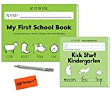 My first School Book + Kick Start Kindergarten Transition Drawing Writing Counting Language- Essentials Preschool Learning Activities With Bonus Pencils For Little Hands and Gift Boutique Eraser