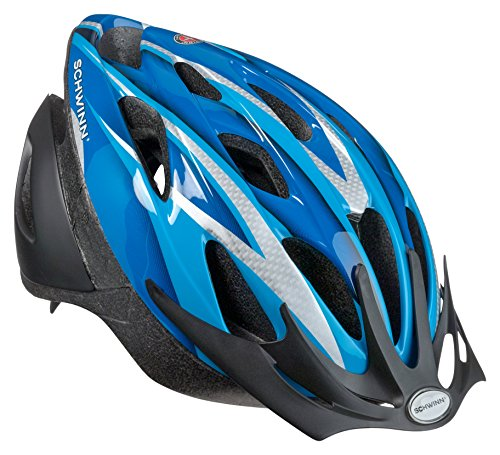 Schwinn Thrasher Lightweight Microshell Bicycle Helmet Featuring 360 Degree Comfort System with Dial-Fit Adjustment, Youth, Blue/Silver