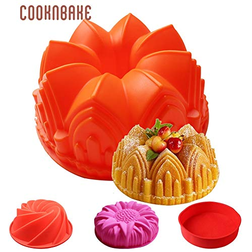 Cake Bakeware Silicone Mold 3D Pastry Baking Mold Crown Flower Shape Big Cake Tools for cooking Reusable Cupcake Spiral Mould