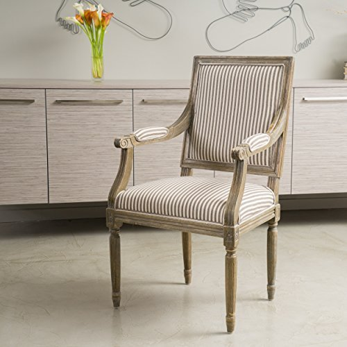 Upholstered Stripe - Christopher Knight Home 295145 Martin Weathered Dark Coffee Stripe Arm Chair