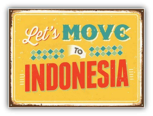 (DG Graphics SkudruLacis Let's Move to Indonesia Vintage Travel Label Art Decor 5'' x 4'' Magnet Vinyl Magnetic Sheet for Lockers, Cars, Signs, Refrigerator)