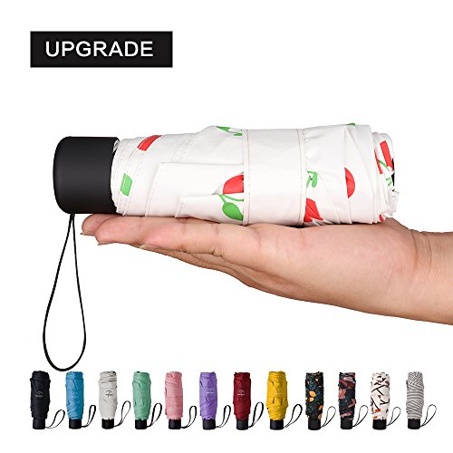 NOOFORMER mini Travel sun&rain Umbrella - Light Compact Parasol with 95% UV Protection for Men Women Multiple Colors