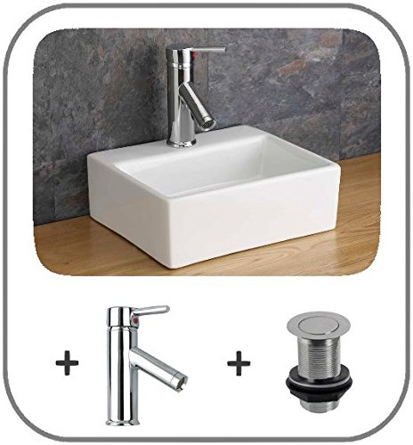 Wall Mounted Wall Hung Square Small Sink 33cm x 28cm Cloakroom Basin with Tap