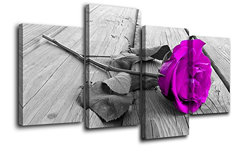 (Black White Purple Rose Flower on Grey Wooden Board,Big Modern Flower Prints-Multi Panel Artwork,4P Canvas Prints Artwork Modern Paintings Wall Art Home Decoration Stretched and Framed Ready to Hang)