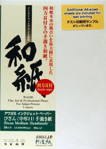 Awagami Bizan Natural Deckle Edge Fine Art Inkjet Paper, 200gsm A4 (8.27