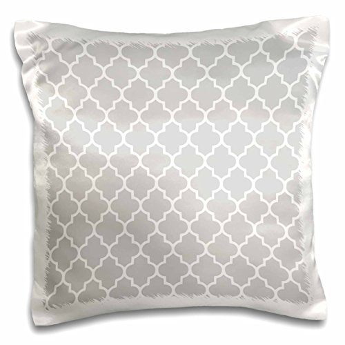 3dRose Light Gray Quatrefoil Pattern-Grey Moroccan Tile Style-Modern Silver Geometric Clover Lattice-Pillow Case, 16 by 16