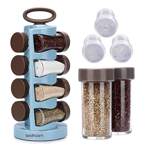 (Sedhoom Spice Rack Revolving Spin Spice Jar Organizer 8 pcs Large Capacity Seasoning Canisters Included)